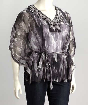 Black Watercolor Plus-Size Top