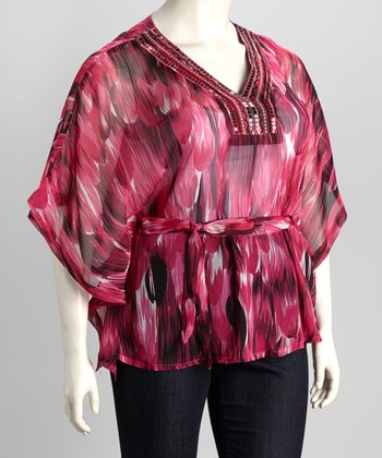 Fuchsia Watercolor Plus-Size Top