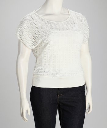White Knit Layered Top - Plus