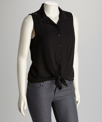 Black Lace Panel Sleeveless Button-Up Top - Plus