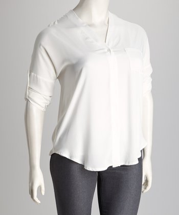 White Laced-Back Button-Up Top - Plus