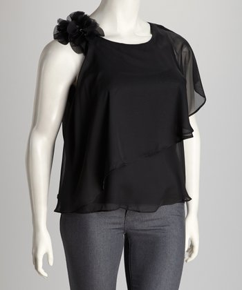 Black Embellished Plus-Size Asymmetrical Top