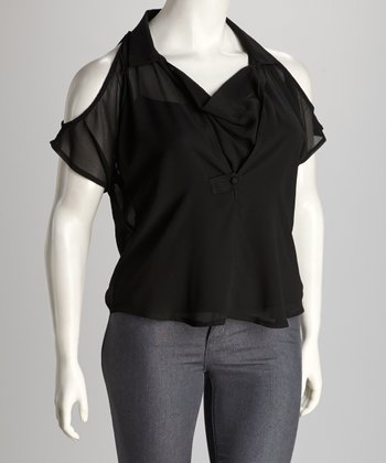 Black Cutout Plus-Size Drape Top