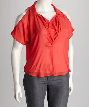 Coral Cutout Plus-Size Drape Top