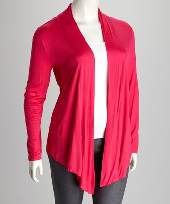 Fuchsia Lace-Back Plus-Size Open Cardigan