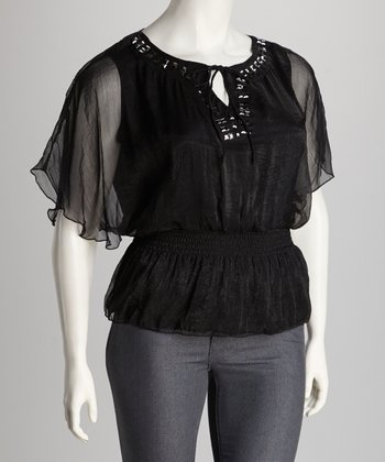 Black Embellished Plus-Size Cape-Sleeve Top