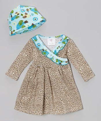 Tan & Blue Cheetah Surplice Dress & Beanie - Infant & Toddler