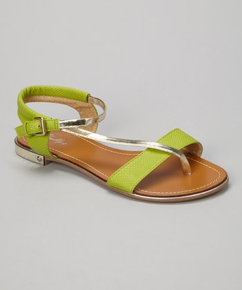 Lime Metallic Strap Sandal