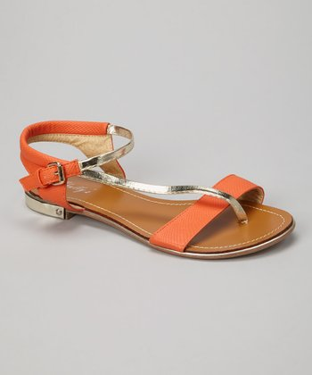 Orange Metallic Strap Sandal