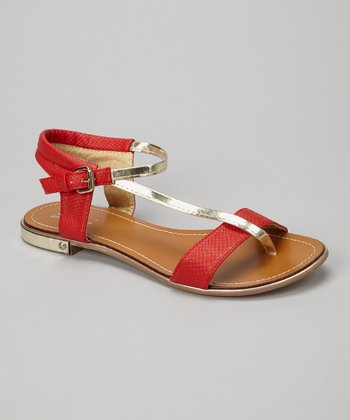 Red Metallic Strap Sandal