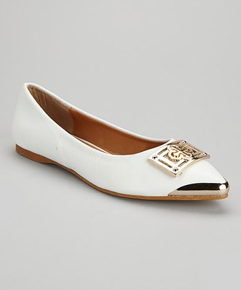 White & Gold Buckle Flat