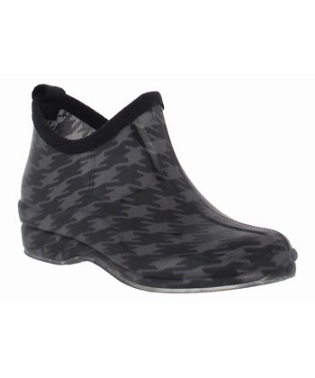 Gray Short Houndstooth Rain Boot