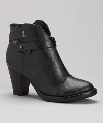 Black Strappy Ankle Boot
