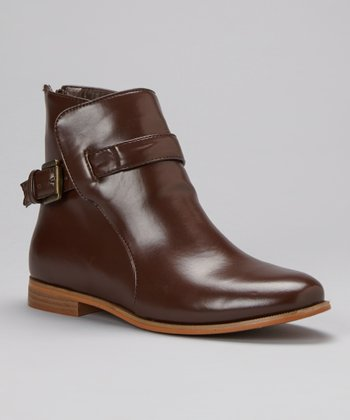 Brown Classic Buckle Ankle Boot