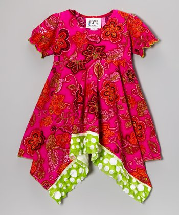 Fuchsia Paisley Ruffle Cover-Up - Infant, Toddler & Girls