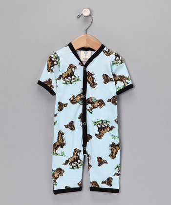 Blue Wild Horses Playsuit - Infant