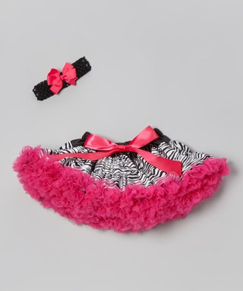 Black & Pink Zebra Pettiskirt Set - Infant