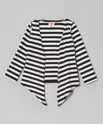 Black & White Stripe Open Cardigan - Toddler & Girls