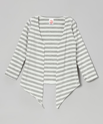 Heather Gray & White Stripe Open Cardigan - Toddler & Girls