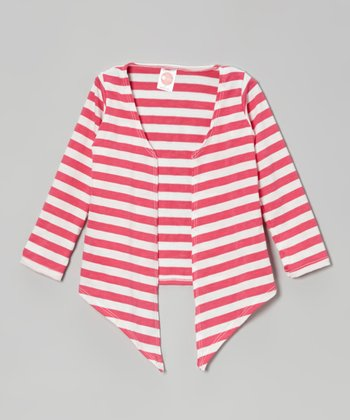 Hot Pink & White Stripe Open Cardigan - Toddler & Girls