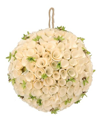 White Birch Rosette Kissing Ball