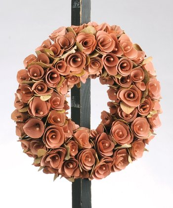 Peach Birch Rosette Small Wreath
