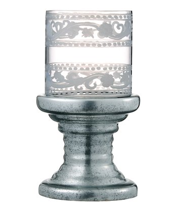Antique Silver Large Hurricane Candleholder