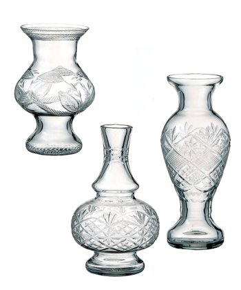 Cut Glass Large Vase Set