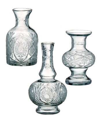Cut Glass Small Vase Set