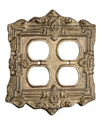 Gold Square Double Outlet Cover
