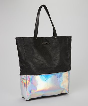 Silver & Black Color Block Tote