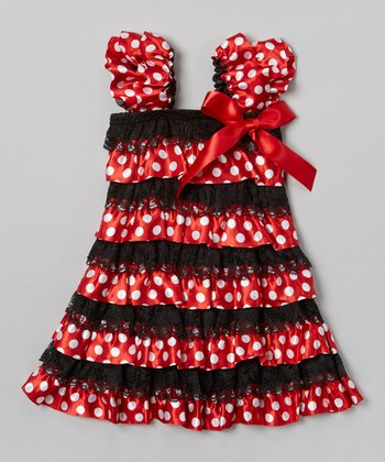 Red & Black Ruffle Dress - Infant, Toddler & Girls