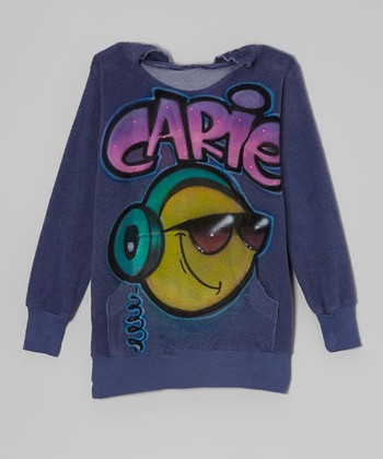 Blue Smiley Beats Personalized Hoodie - Girls