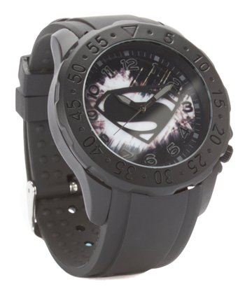 Superman Logo Black Analog Watch