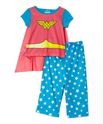 Blue & Red Wonder Girl Pajama Set - Infant