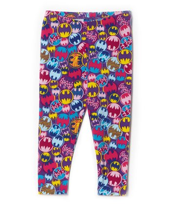 Purple Batgirl Mulit-Logo Leggings - Toddler