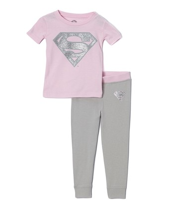 Pink & Silver Supergirl Emblem Pajama Set - Infant & Toddler