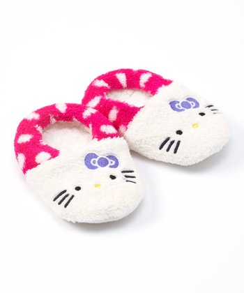 Pink & White Kitty White Character Slipper