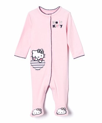 Pink 'Hello Kitty' Stripe Heart Footie - Infant