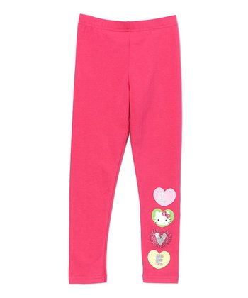 Pink Hearts Hello Kitty Leggings - Girls