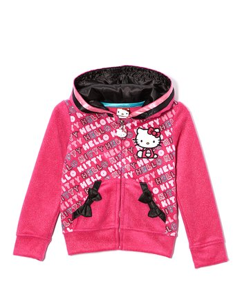 Pink Glitter Hello Kitty Zip-Up Hoodie - Girls