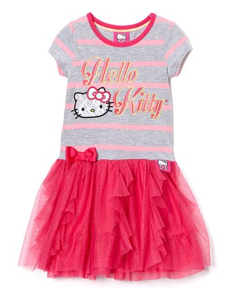 Pink & Gray Stripe 'Hello Kitty' Dress - Girls