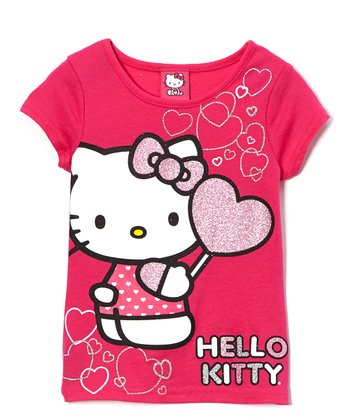 Fuchsia Glitter Hearts Hello Kitty Tee - Girls