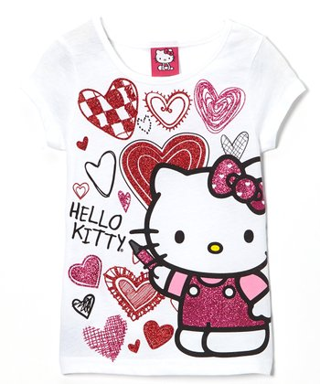 White Hearts Hello Kitty Tee - Girls