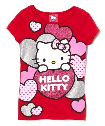 Red Hearts Hello Kitty Tee - Girls