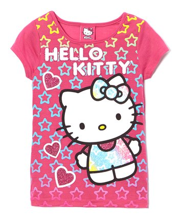 Fuchsia Hearts Hello Kitty Tee - Girls