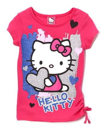 Pink & Blue 'Hello Kitty' Tie Tee - Girls