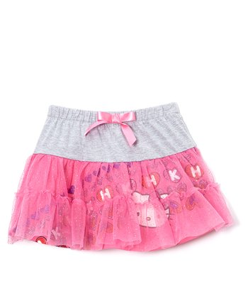 Gray & Pink Sequin 'Hello Kitty Skirt' - Girls