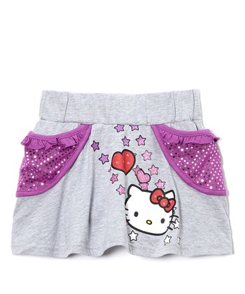 Gray & Purple Sequin Hello Kitty Pocket Skirt - Girls