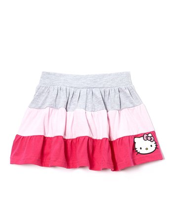 Blue & Pink Hello Kitty Skirt - Girls